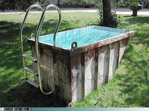 dumpster pool repurposed tile