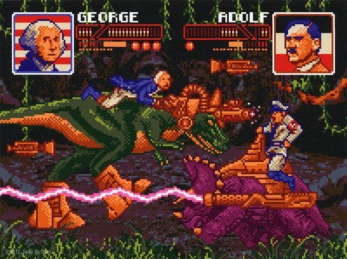 8 bit,fighting game,i am,Jude Buffum,jurassic president,video games