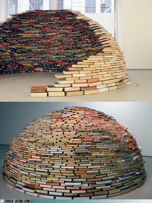 books dome igloo shelter stack