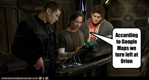 brian-j-smith,directions,google maps,matthew scott,nicholas rush,Orion,robert carlyle,Stargate,stargate universe