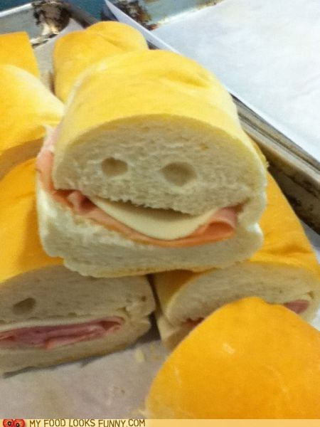 bread bubbles cheese face meat sandwich smile