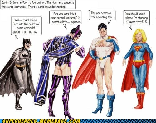 batman,costume,huntress,power girl,Super-Lols,superman,switch