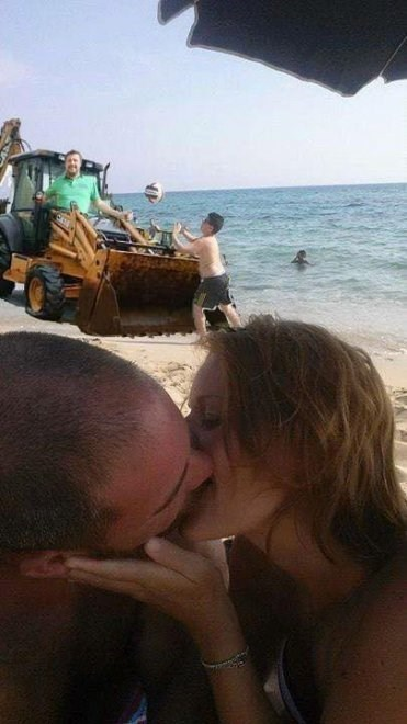 kissing couple on the beach gets photoshopped