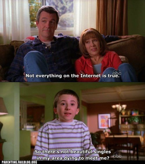 beautiful singles,internet,lies,malcom in the middle