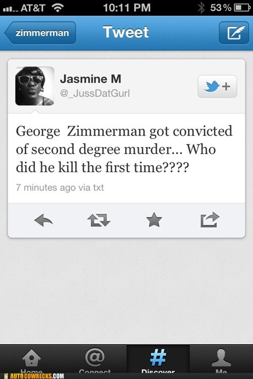 George Zimmerman second degree murder Trayvon Martin tweets twitter