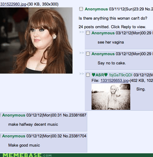 4chan,adele,comments,deep,Memes,rolling,rude
