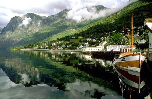 boat harbor lake mountain Norway - 6103704320