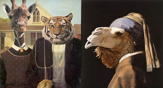animals photoshopped as american gothic and girl with a pearl earring