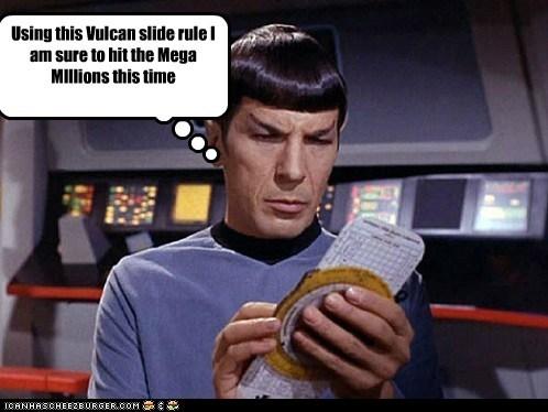 gambling Leonard Nimoy logic lottery Mega Millions slide rule Spock Star Trek Vulcan - 6103942912