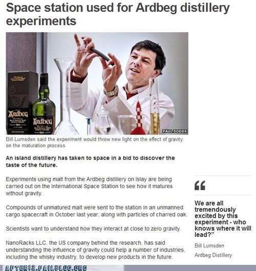 ardbeg,booze news,distillery,distilling,Gravity,ISS,nasa,space station