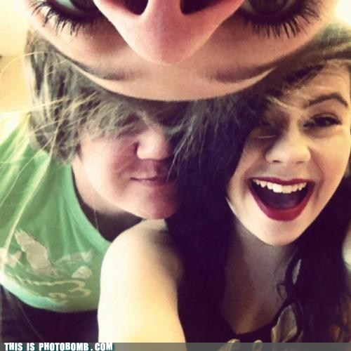 couple,cute,from the top,Good Times,nose,photobomb