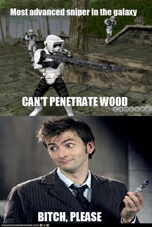 advanced,David Tennant,doctor who,please,sniper rifle,sonic screwdriver,star wars,stormtrooper,the doctor,video games,wood