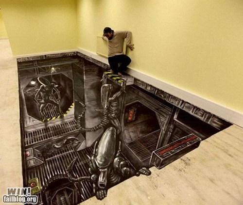alien drawing floor illusion - 6104846592