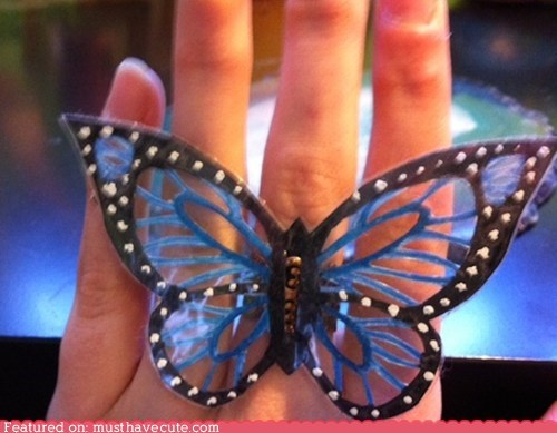 butterfly cut out delicate ring - 6105097728