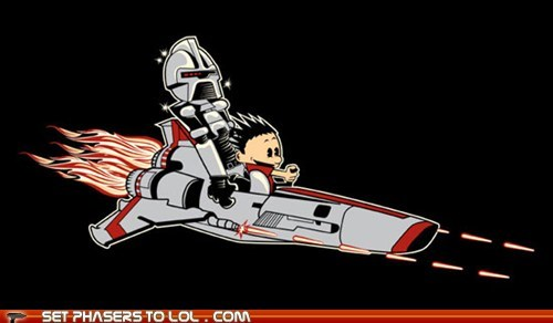 battlestar Battlestar Galactica calvin and hobbes captain cylon shirt Spaceman Spiff viper - 6105259520