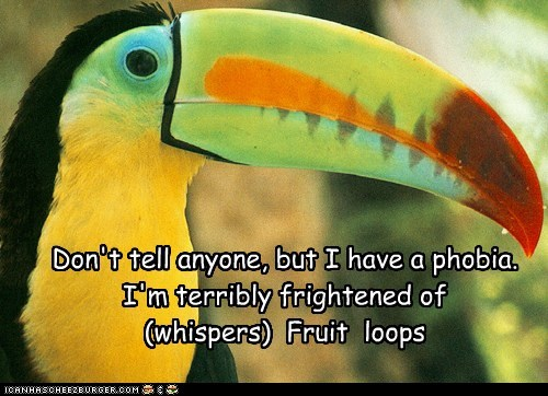 cereal,frightened,fruit loops,job,mascot,phobia,problem,toucan
