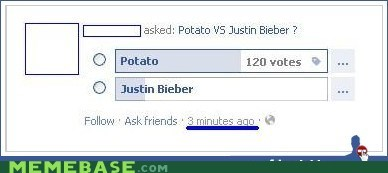facebook justin bieber potato preferences - 6105306368