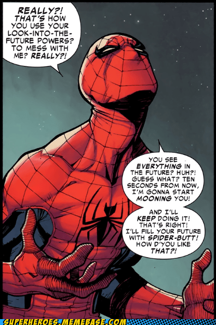 butt,mooning,Spider-Man,Straight off the Page,wtf