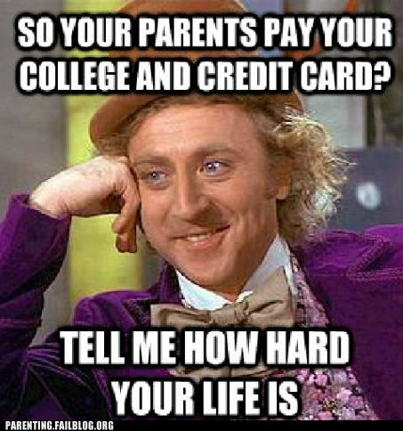 college,credit card,easy money,free ride,Good Times,Willie Wonka