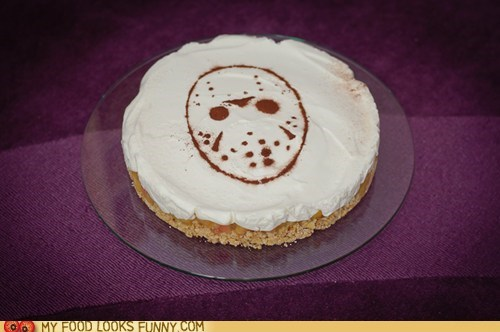 cake,chocolate,friday the 13th,frosting,hockey mask,jason,stencil