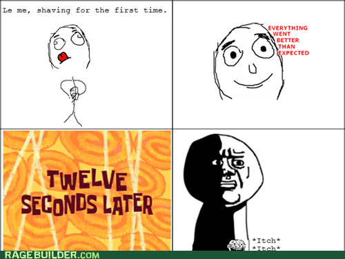 everything went better than expected,oh god why,Rage Comics,shaving