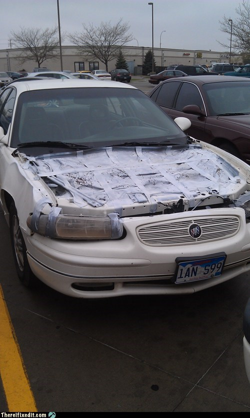 car,car hood,duct tape,hood,spray paint,tarp,white