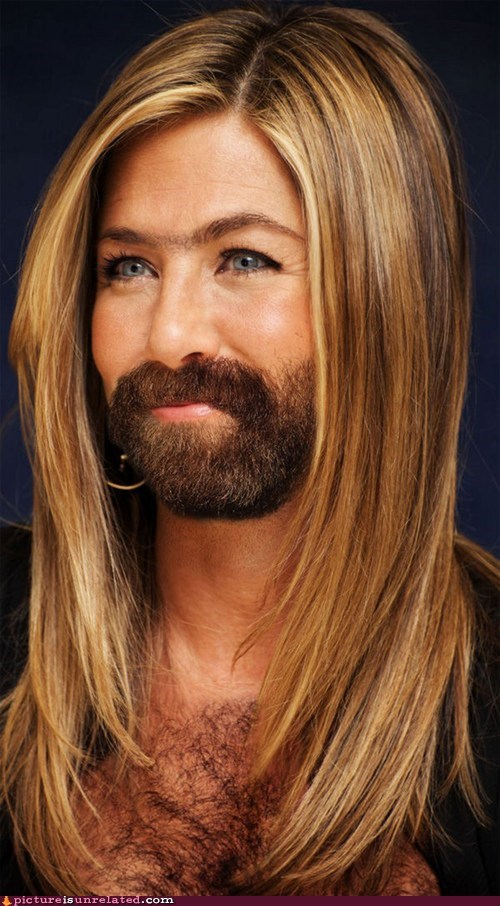 beard,gender bender,jennifer aniston,shopped pixels,wtf