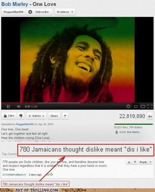 bob marley,dislike,rastafarian,youtube