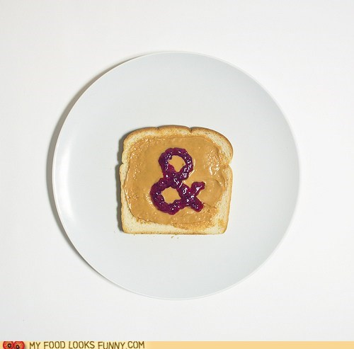 ampersand,bread,jam,jelly,peanut butter,plate