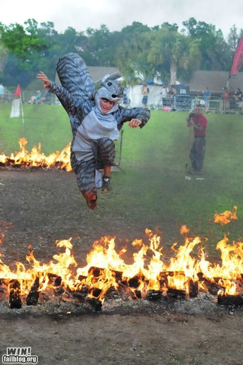 BAMF,costume,fire,jump,squirrel