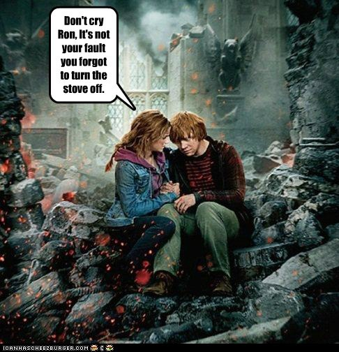 cry destroyed emma watson explosion fire forgot Harry Potter hermione granger Ron Weasley rupert grint stove - 6108730880