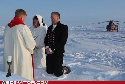 bride,funny wedding photos,groom,north pole,Norway