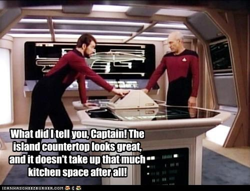 captain Captain Picard countertop island Jonathan Frakes kitchen patrick stewart remodel Star Trek william riker