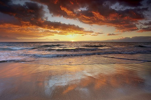 beach,Hawaii,ocean,sunrise