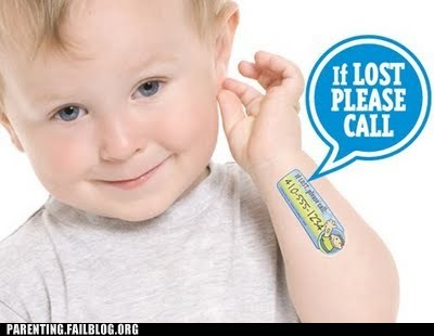 baby lost child safety tattoo - 6109483776