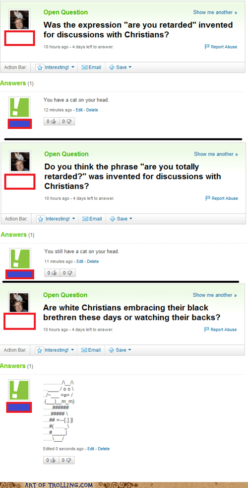 cat christian head religion Yahoo Answer Fails - 6109524992