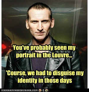 art,christopher eccleston,disguise,doctor who,louvre,mona lisa,museum,portrait,the doctor
