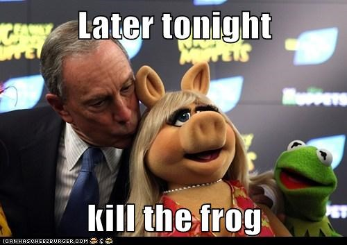 kermit the frog,michael bloomberg,miss piggy,muppets,political pictures