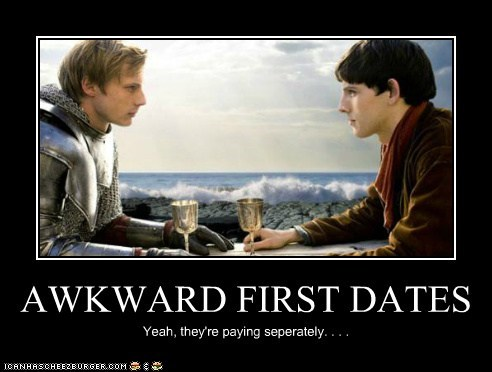 Awkward,bradley james,colin morgan,first dates,king arthur,merlin,paying,Staring
