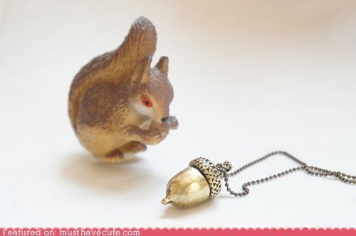 acorn chain gold Jewelry necklace pendant squirrel - 6110340352