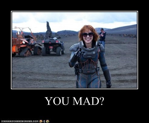Aliens Elizabeth Shaw laughing Noomi Rapace pointing prometheus trolling you mad bro