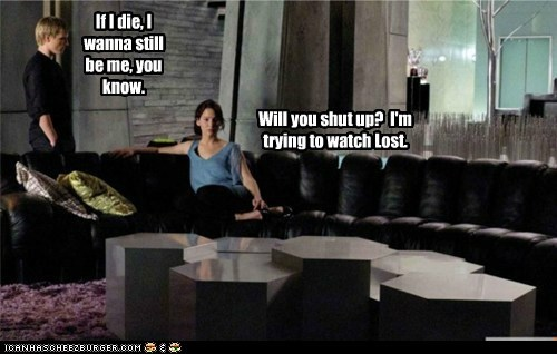 die,hunger games,jennifer lawrence,josh hutcherson,katniss everdeen,peeta mellark,shut up,watching,whining