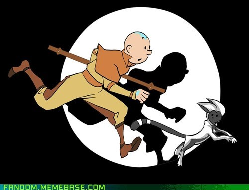 aang,Avatar,crossover,Fan Art,momo,tinitin