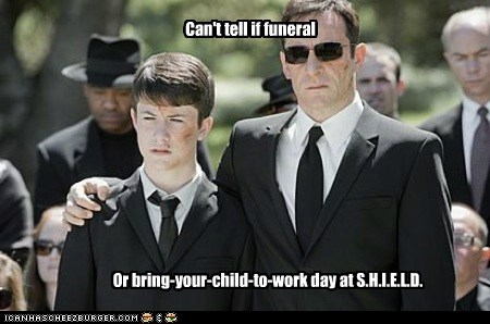Can't tell if funeral Or bring-your-child-to-work day at S.H.I.E.L.D.