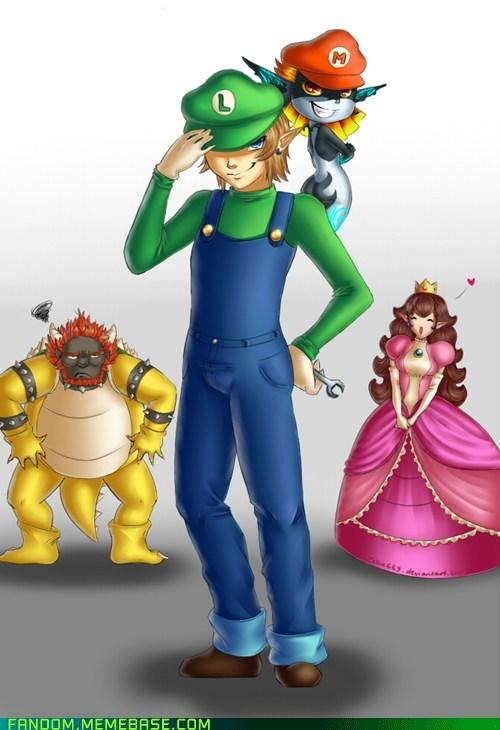 crossover Fan Art legend of zelda Super Mario bros video games - 6117160960