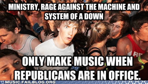epiphany,ministry,politics,rage against the machine,Republicans,sudden clarity clarence,system of a down