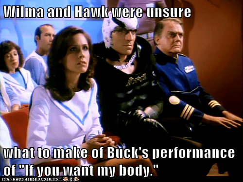 bad,Buck Rogers,erin gray,hawk,performance,singing,thom christopher,unsure,wilma deering