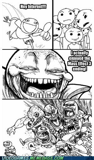 ending flamewar mass effect mass effect 3 meme the internet thinking man troll video games - 6118883840