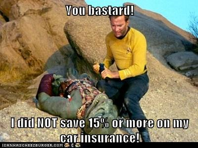 bastard,Captain Kirk,car insurance,dead,GEICO,Gorn,lizard,Shatnerday,Star Trek,William Shatner