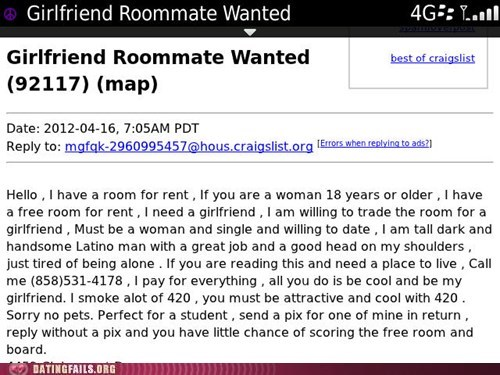craigslist,forever a roommate,roommate wanted,willing to date